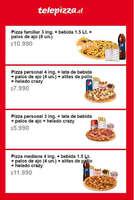 Ofertas de Telepizza, Menú internet