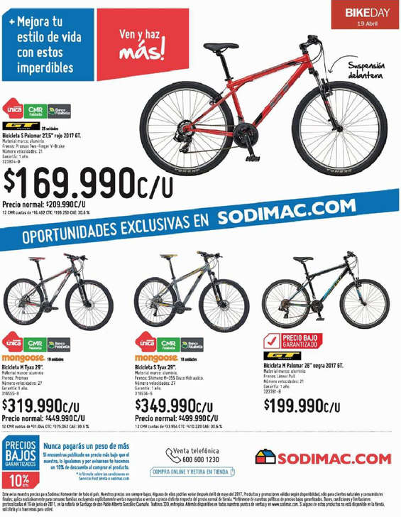 Ofertas de HomeCenter Sodimac, bike day