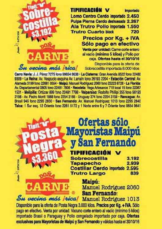 Ofertas de Doña Carne, oferta semanal