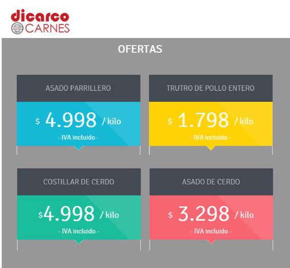 Ofertas de Carnes Dicarco, ofertas dicarco