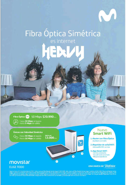 Ofertas de Movistar, fibra óptica simétrica es internet heavy