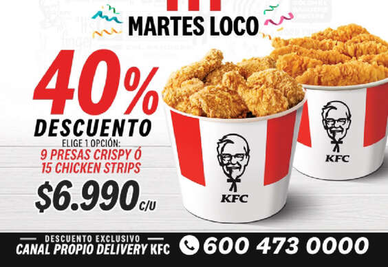 Ofertas de KFC, 40% de descuento